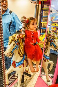 A lady rides side saddle