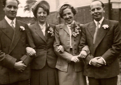 DPB-175: Edward Barr Snr, Eileen Prentice, May McKeown and David Barr Snr on Wedding Day, 26th June 1952 at 187.
