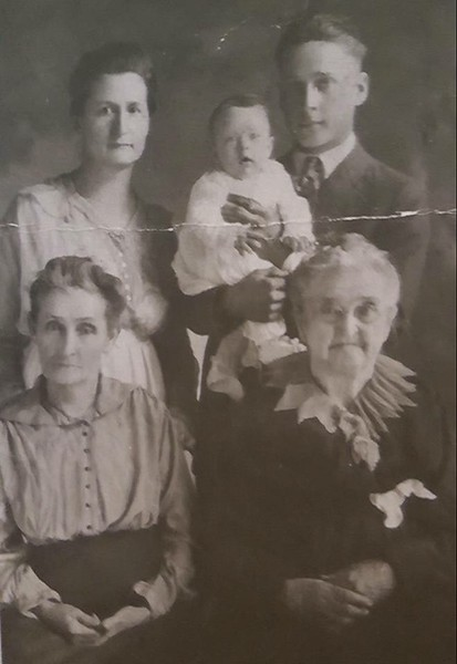 Five Generation picture; Great Grandma May Gibeaut Whitney. Great Great Grandma Arabella Colley Gibeaut . With Edna and son Glen Rosenbaum holding dau. Mary Louise before 1921
