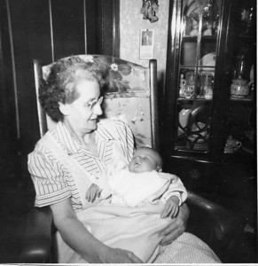 My Mom Mary holding Linda.