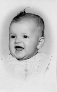 Kathy was six months old in the happy portrait. You would never know i beat them.