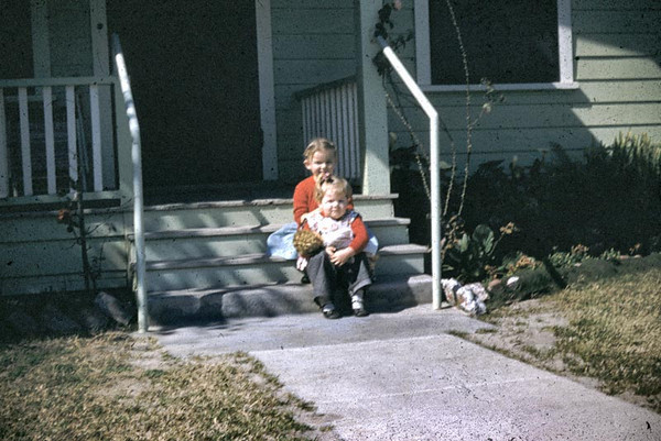 This was taken at Rancho in February 1953 so Kathy was one year old and Linda was three or there abouts.