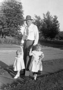 Grandpa Edberg is walking Kathy and linda at Rancho.