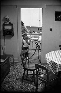 I wonder what I was fixing in the electric skillet. Must have been ironing also and both girls were in school.