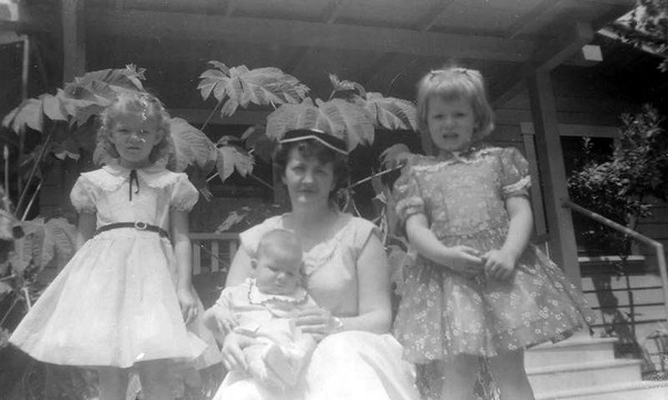 Mom with Linda, Kathy and baby Gary during the summer of 1956.
