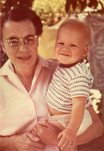 Grandma hazel Edberg holding Johnny on one of her visits out to california from Jamestown N.Y.