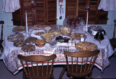 The table of goodies just before the guests arrived on Christmas Eve, 1965.