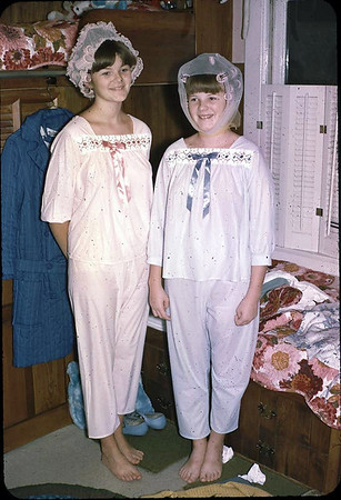 Linda and Kathy in (almost) matching pajamas.