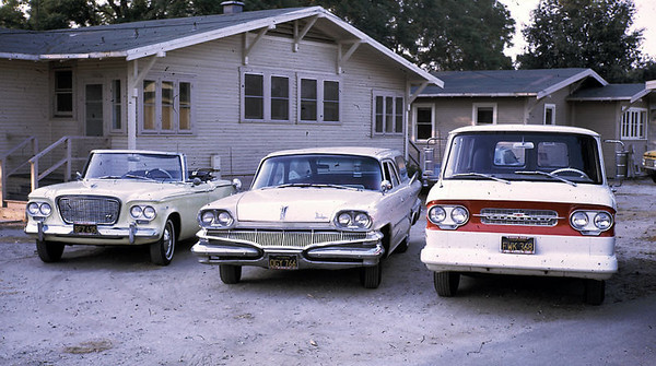 The Edberg car collection. From left to right: Studebaker Lark, Dodge Station Wagon, Chevrolet Corvair Greenbrier Van.