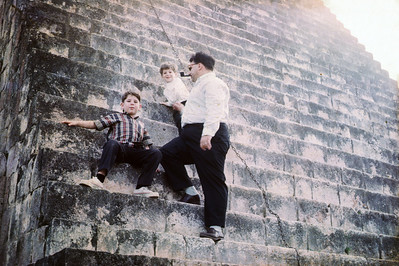 Dad about to ascend the Pyramid at Uxmal.  I'm sure the pipe helped!  Tony and I stayed at the bottom, me hanging on for dear life.