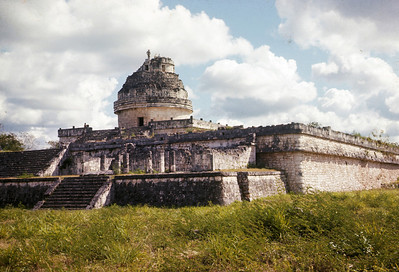 The Observatory at Chichan Itza, back in the good old days when you could climb to the top!