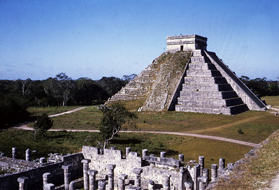The temple courtyard at Chichan Itza, Marketplace in the foreground.