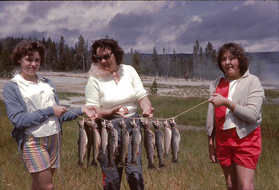 Nancy, Mom and me with our trout! We went fishing on Yellowstone Lake and caught our limit of 3 each. Turns out that Nancy hates trout and we ate a lot of it (obviously) when we were in the Tetons!