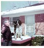 Snow in Dallas, January 1975.  Dad with Robby the wonder dog.