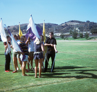Not taken by dad; pretty sure this was Ellen's. Drum Major K. Hannaford and the flag girls.