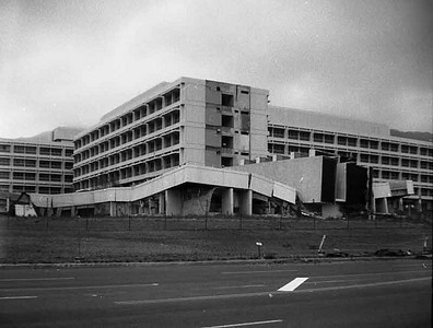 This is the only view we have of the earthquake that killed about 78 people in Los angeles. This is Olive view County hospital that had just been dedicated.