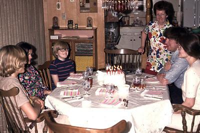 Gary's 17th birthday. Left to right: Tammy, John, Mom, Mike, Linda.
