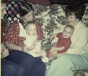 I know this is in 1974 but I don't know what month it is. Mom, Kathy Kim and Joe.Maybe it is even 1975.