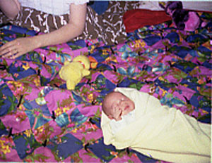 This is Kristina in McCall soon after her birth.