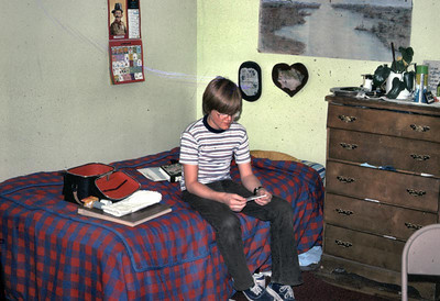 This is John in his Dorm room at newberry park acad. His roommate was Dean morris.