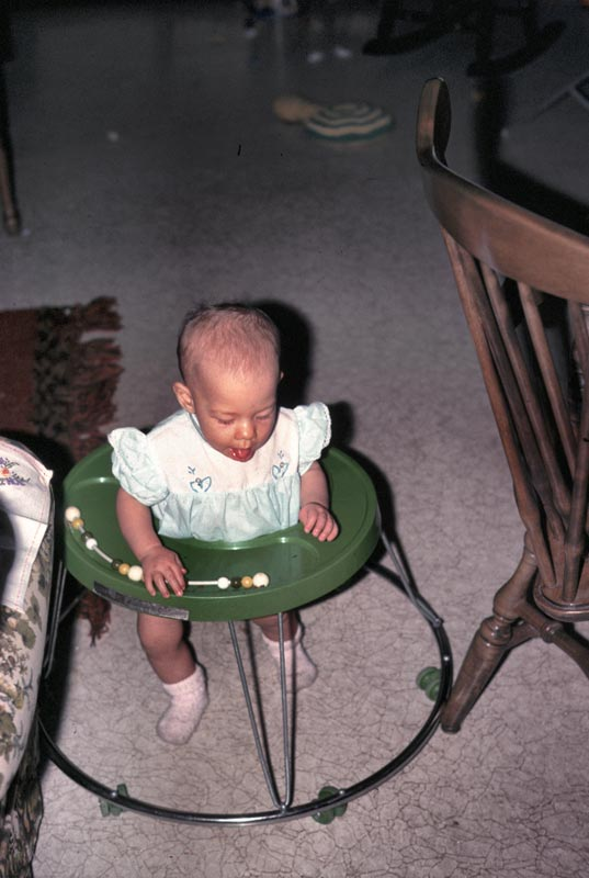 This is Kristina in her walker  at grandmas house
