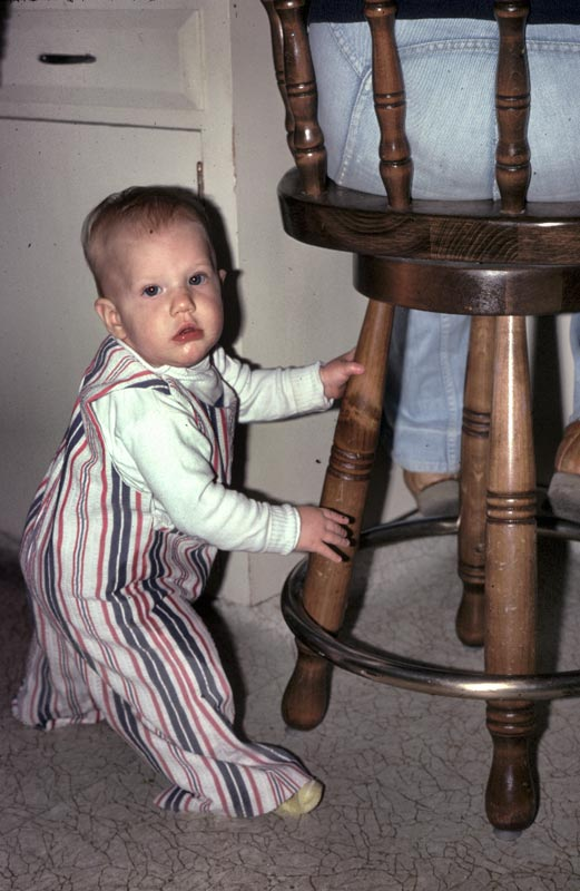 Erika had utmost faith that that stool would stay ankored to the spot with her mom sitting on it.