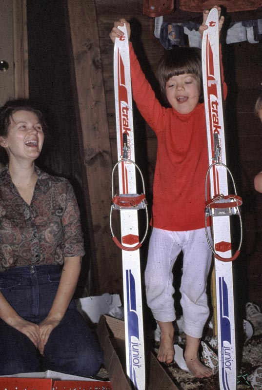 These are Joe's first skis and he seems happy as does his Mom.