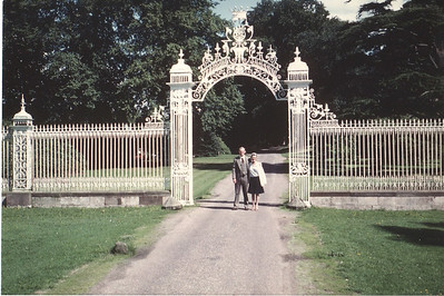 Russell & Lois Bellmor At The Gate to  Cholmondeley Family Castle Europe Trip Sept 1979