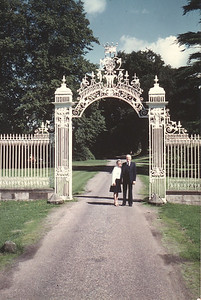 Lois & Richard Bellmor At The Gate to Cholmondeley Family Castle Europe Trip Sept 1979