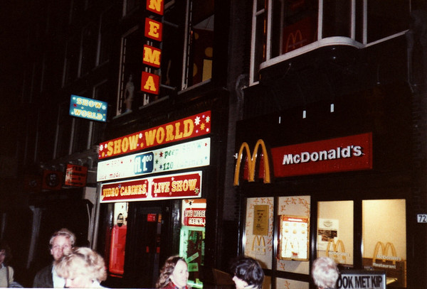 After Hours Tour Of The Red Light District In Amsterdam Holland Note A McDonald's Next Door To An Adult Show American Express European Tour 1984