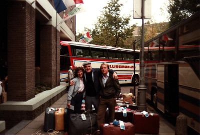 Ann Bellmor, Hans Guggenheim With Our Tour Bus Driver Last Day On Tour Going To Airport Amsterdam Holland American Express European Tour 1984