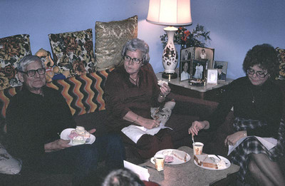 This was taken in Harold and Eva's apartment. Julie, Agnes, and Harolds daughter Judy.