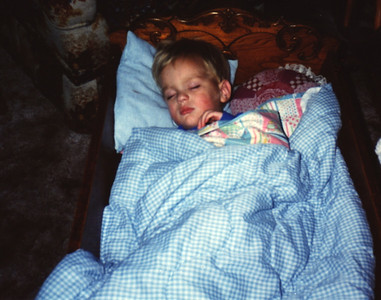 1989:11 Morgan Bellmor Sleeping At The Moyer's • A Future Marine Corps Officer?