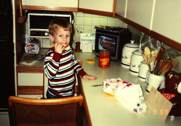 1989:11 Justin Bellmor Making His Favorite Sandwich, A PBJ