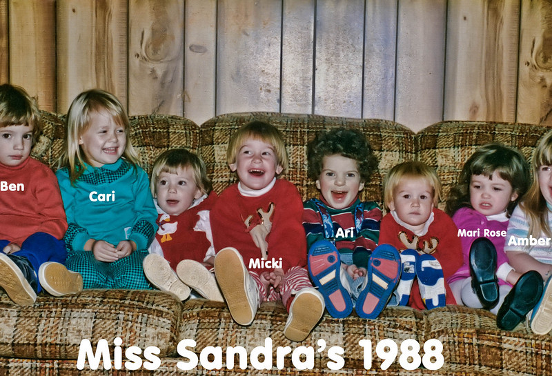 The kids at Miss Sandra's Daycare in December 1988. Ari and Ben are still good friends.