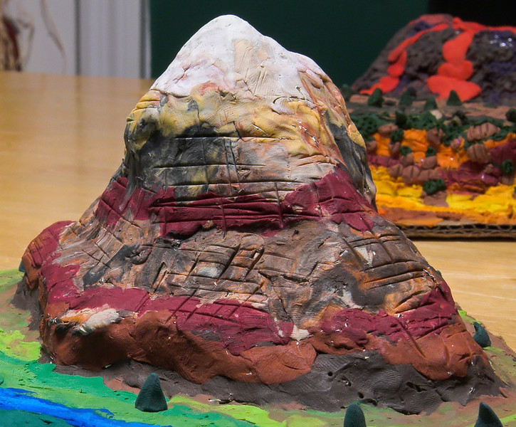 Closeup of Mountain.  Jennifer's craftmanship.  Abigail did the plain and river.