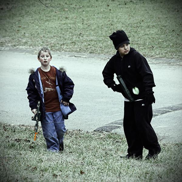 Josh and José patrol the back yard.