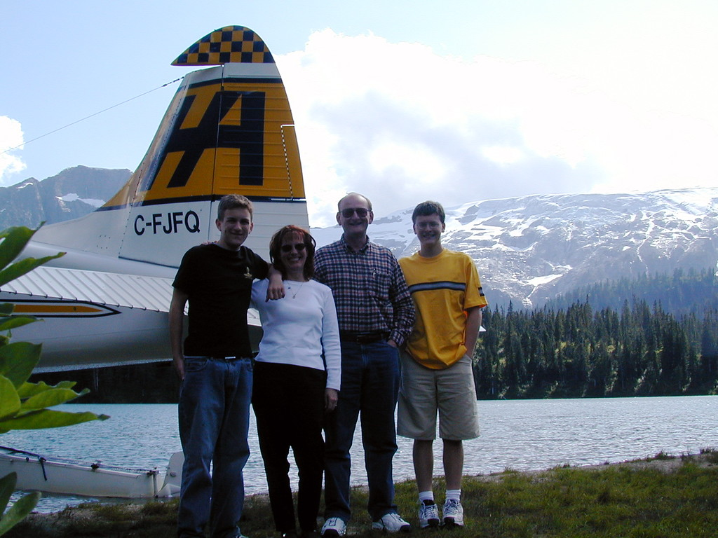 Morgan, Ann, Russell & Justin Bellmor After Landing On Glacier Lake Seaplane Flight Through Canadian Mountains.  Vancouver Canada July 2003  Alaska Cruise Vacation