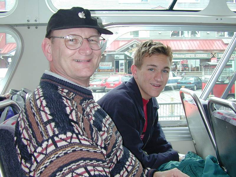 Russell & Morgan Bellmor On Bus To Jeep Excursion Ketchikan Alaska July 2003  Alaska Cruise Vacation