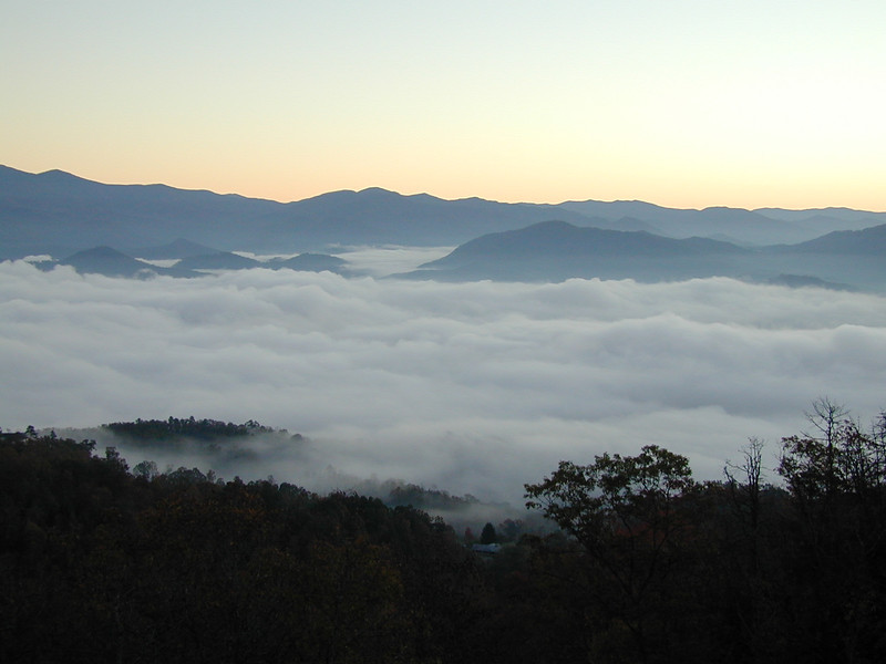 View From Russell & Ann Bellmor's Fontana Trace Property At Sunrise October 2003 Heavy Fog Over Lake Fontana