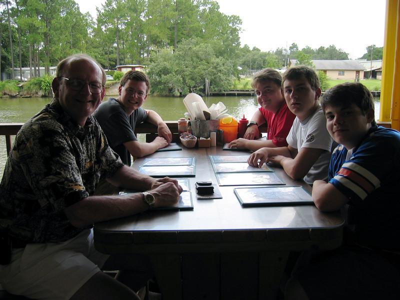 Russell & Justin Bellmor, Robert Brooks, Morgan Bellmor, Joe Zollo @ Lulu's Restaurant Gulf Shores Summer 2004