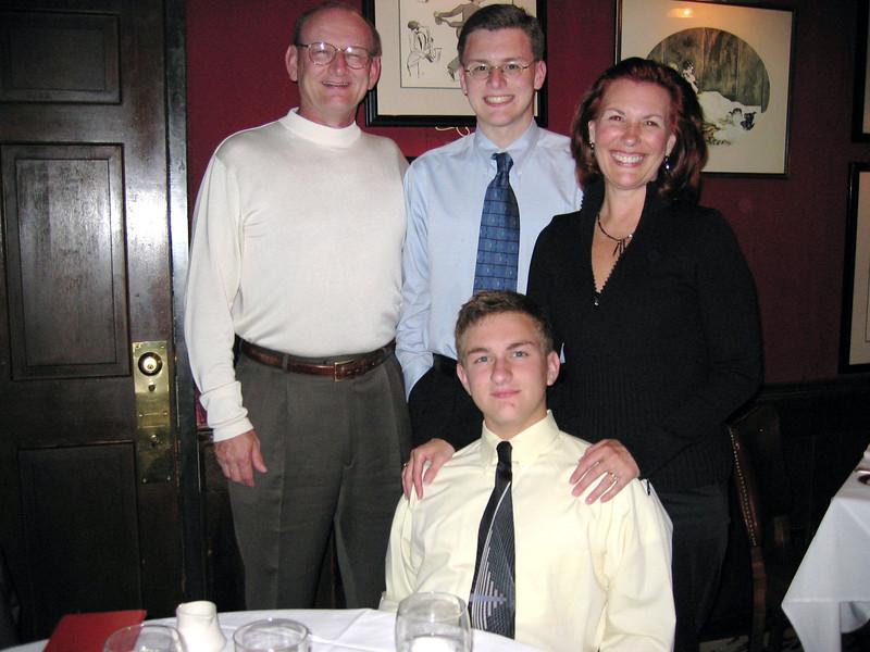 Russell, Justin, Morgan & Ann Bellmor @ Bones Restaurant August 2004