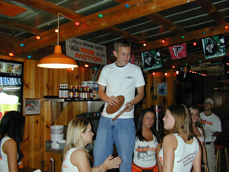 Morgan Bellmor With The Hooters Girls At His 16th Birthday Party.  September 2003