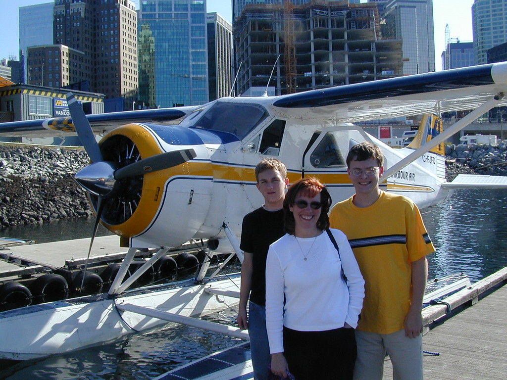 Morgan, Ann & Justin Bellmor Deplaning After Seaplane Flight Through Canadian Mountains Vancouver Canada July 2003  Alaska Cruise Vacation