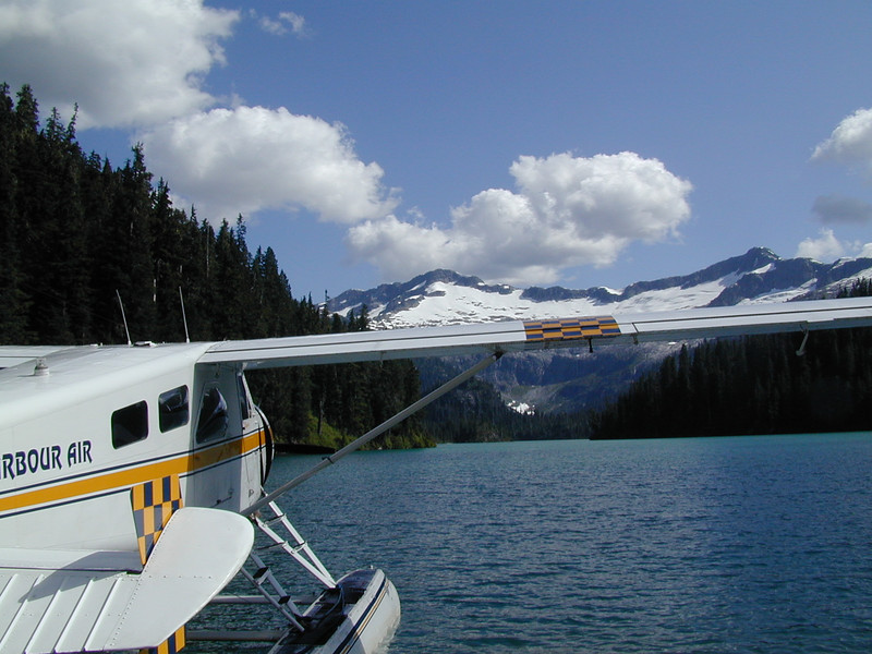 After Landing On Glacier Lake.  Seaplane Flight Through Canadian Mountains.   Vancouver Canada July 2003  Alaska Cruise Vacation