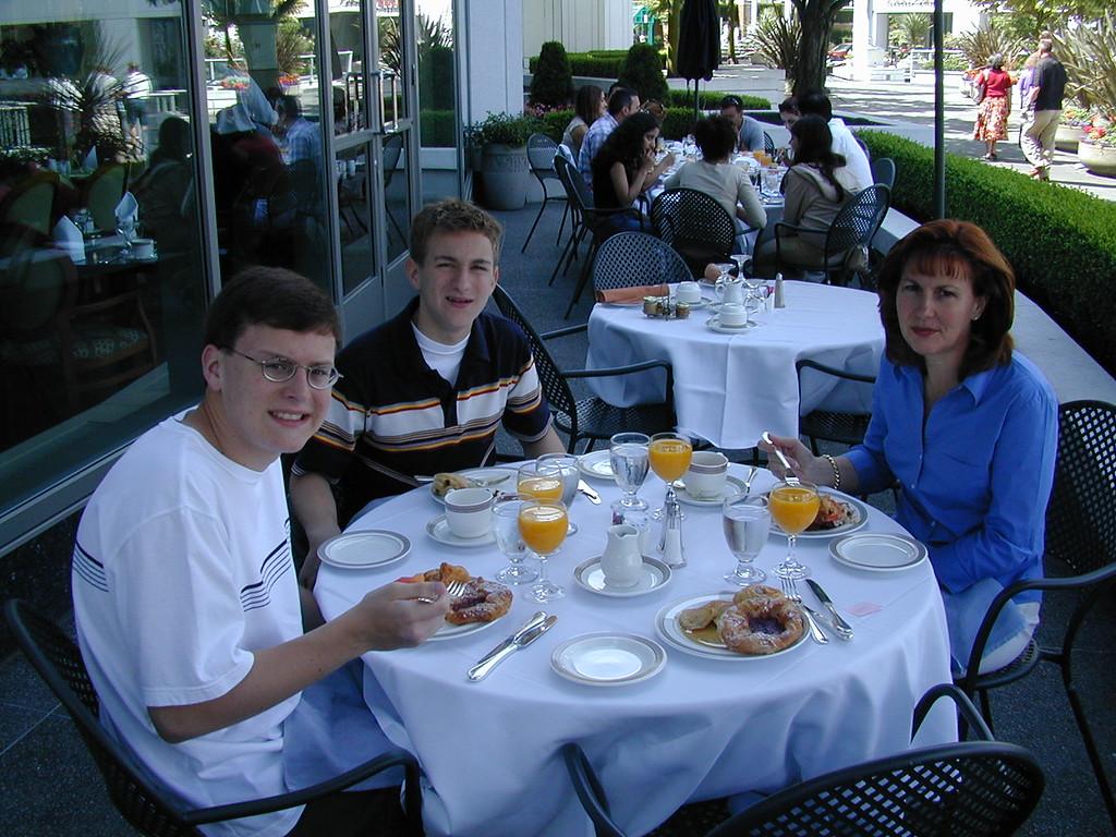 Justin, Morgan & Ann Bellmor Breakfast @ Fairmont Hotel Vancouver Canada July 2003 Alaska Cruise Vacation