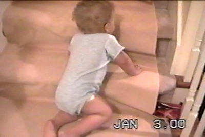 Jan 2000 B'ham Nicholas shows us how he safely comes down the stairs  Me taking his temp  Small clips of  Nick