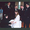 Blair removing the garter at the reception.<br /> Standing: Bryan, Chad, Jason and Dave