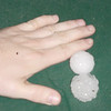 Those are chunks of hail that came down with Blair's hand for scale