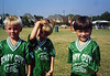 "Grant and two of his fellow ""Scary Guys"" on his Pre-K soccer team at Town North YMCA.  10-12-02.<br /> <br /> Stanton Geyer in the middle, and ....."